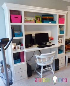 Pretty!! I want this desk.     Perfect Home Office Desk - Inspired by IHeart Organizing | Do It Yourself Home Projects from Ana White