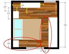 quarto 3x3 distribuição 4 Dream Bedroom, Master Bedroom, Bedroom Furniture, Bedroom Decor, Room Dimensions, Room Inspiration, House Plans, Floor Plans, House Design