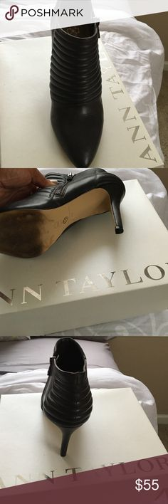 Ann Taylor brown ankle boots Beautiful 3 inches Dark Brown Ann Taylor Ankle boots!!!😉nice to wear with Jeans 👖, dress 👗! Wear the boots about 4 times!! No scruff marks and no damages!!! Make these boots yours to day!! Price reasonable and is negotiable!!! Ann Taylor Shoes Ankle Boots & Booties