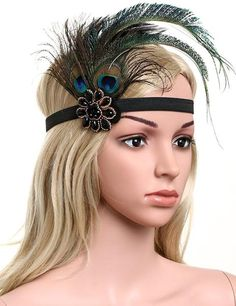 Attached firmly to a sturdy black headband that clings comfortably to the head.Feather Headband Embellishments are great fashion accessories that can be worn when dressing for Special Events, Holidays, Birthdays, Weddings or Bridal Showers, and so much more from Costume to coutureAlso great for a Great Gatsby party, pr 1920 Gatsby, 1920s Flapper, Flapper Style, Great Gatsby Headpiece, Gatsby Hair, Great Gatsby Fashion, Great Gatsby Party, Gatsby Costume, Flapper Headband