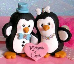 Handmade Penguin Wedding Cake Topper for by ButtonwilloeDesigns, $68.00
