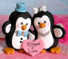 Handmade Penguin Wedding Cake Topper for by ButtonwilloeDesigns, $68.00