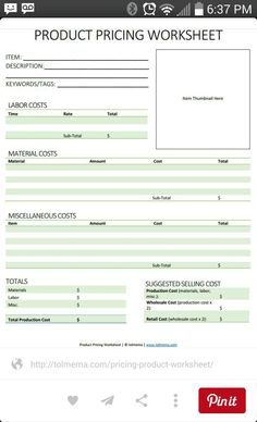 Love this idea! A great way to organize your thoughts and make sure you earn what you deserve. product pricing worksheet - This guide helps you know how much to charge for handmade items. Business Help, Etsy Business, Craft Business, Starting A Business, Business Planning, Business Ideas, Online Business, Business Management, Business Expense Tracker