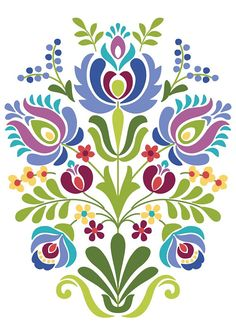 Hungarian Folk Art Blue and Purple Flowers