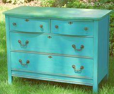 Whimsical Cottage Style Dresser painted in Destin Gulf Green and Spring Hill Green.  See entire transformation at http://alittlebitoshizzle.blogspot.com/2012/05/funk-it-up-notch-cottage-style-dresser.html