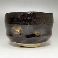 RAKU Modern Black Japanese Pottery Tea Ceremony Bowl