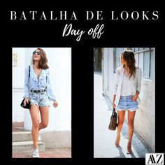 BATALHA DE LOOKS  CAMISA + SHORT X BLAZER + SHORT Day Off, Instagram, Frozen Invitations, Battle, Entrepreneurship, Simple, Winter Time, Pictures