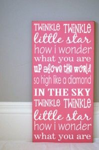 Twinkle Twinkle - I need this in blue for Ethan's room. This is his favorite song to sing