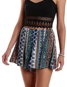 Striped & Printed High-Waisted Shorts: Charlotte Russe #shorts #highwaisted