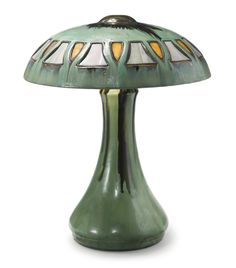 FULPER POTTERY TABLE LAMP, shade impressed FULPER and 21 earthenware with an early Flemington Green flambé glaze and leaded glass, circa 1920