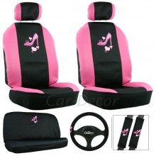 Pink High Heel Shoe Car Seat Cover Girly Auto Accessory I just fell in love with this set Diy Seat Covers, Car Seat Cover Sets, Car Covers, Lilo Stitch, Chevrolet Silverado, Lilly Pulitzer, Chevron, Minnie Mouse, Car Accessories For Guys
