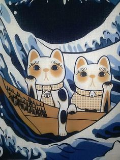 Maneki Neko tapestry hanging wall The wave Okusai by Morondanga