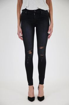 f5389112 BLACK ORCHID Jude Mid Rise Distressed Rip Skinny Jeans Black Rock 27 $189  #380