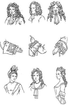 1640's French Period hair for men and women. Also cuffs. ('cause that's important too!)