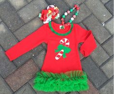 """Candy Cane Chiffon Dress 3 Piece SET Price: $29.99 With Free Standard Shipping Options: 2T, 3T, 4T, 5T, 6T Baby girls Chirstmas Candy Cane  Dress with matching hair bows and chunky necklace set  To Purchase, comment """"Sold and option (eg. size/color)""""  Register here to get your invoice: https://www.soldsie.com/pin/570430"""