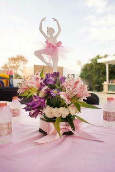 Ballerina Party centerpieces flowers tutu cute pink Bat Mitzvah Centerpieces, Party Centerpieces, Flower Centerpieces, Ballerina Centerpiece, Bat Mitzvah Themes, Ballerina Party, Third Birthday, April Showers, Cute Pink
