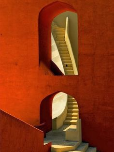 """Walking through geometry,"" a photo by Miffy O'Hara, shows a detail from the historic Jantar Mantar observatory in the city of Jaipur in Rajasthan, India. Built in the by a Moghul prince, Jantar Mantar is now listed as a national monument. Architecture Design, Amazing Architecture, Stairs Architecture, India Architecture, Installation Architecture, Geometry Architecture, Fashion Architecture, Minimalist Architecture, Gothic Architecture"