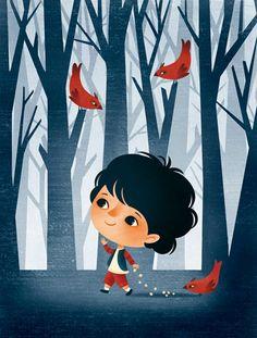 Le Petit Poucet illustration by Gaia Bordicchia Illustrations via The Fox Is Black