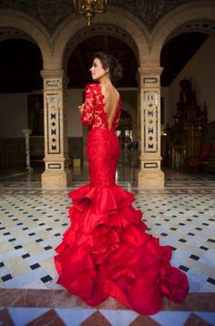 Jewel Neckline Ruffled Mermaid Evening Dresses With Long Sleeves Lace and Satin Ruffled Skirt Red Prom Dress vestidos longos de festa Red Gowns, Maxi Gowns, Prom Dresses, Formal Dresses, Wedding Dresses, Mermaid Evening Gown, Evening Gowns, Elegant Dresses, Pretty Dresses