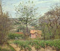 Camille Pissarro | The pink house - Hamlet of the flying heart, 1870