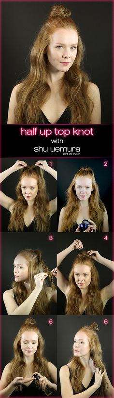 Need to freshen up that second-day hair? Apply our iconic oil, essence absolue, on dry hair. Dress it up with a braided top knot using shape paste for light control and definition. Watch the video or follow our step-by-steps to pull off a Shu Uemura Art of Hair Half Up Top Knot with smooth and shiny strands that make skipping a shampoo chic and completely intentional. Get the look inspired by Gallery of Style.