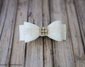 Ivory Bow Hair Clip with Rhinestones