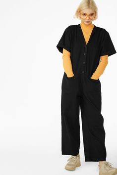Model front image of Monki denim boilersuit in black White Jumpsuit, Denim Jumpsuit, Boiler Suit, Cycling Outfit, Cycling Clothes, Blue Jumpsuits, Monki, Black Shorts, Midnight Blue