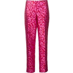 Oscar de la Renta leopard jacquard trousers (93.555 RUB) ❤ liked on Polyvore featuring pants, pink, pink leopard pants, oscar de la renta, pink trousers, leopard pants and pink leopard print pants