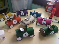 How to make cars with toilet paper rolls