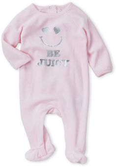 356c6dcd58cf (Newborn Girls) Pink Be Juicy Velour Footie