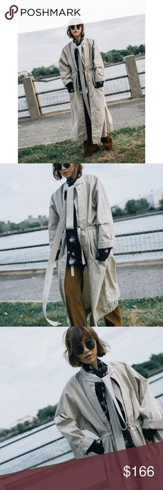 Bassike canvas drawstring trench Like new. Unwashed. Worn once for the pictured photoshoot. Price is final.   Product details: - Size: XS/S.  - Color: stone.  - Relaxed fit. Fits true to size.  - canvas raglan sleeve coat with oversized pockets, stand collar and contrast waist tie.  herringbone tape tie at front neck and herringbone internal details. - fabric & garment made in australia. 100% cotton Bassike Jackets & Coats Trench Coats