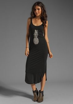 291 Pineapple Scoop Back Dress in Vintage Black - Maxi