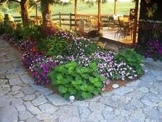 flower bed in patio area