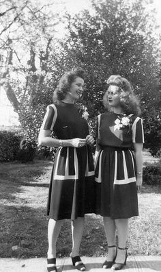Easter Dresses, 1944, via Flickr. - I miss wearing matching outfits with friends, sometimes!