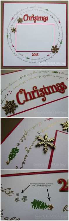 Stampin' Up! Jingle All the Way Christmas Scrapbook Layout Collage | Created by Rachel and Katie Legge, inspired by Rachel Tessman rachelleggestampi... #Christmas2015 #StampinUp
