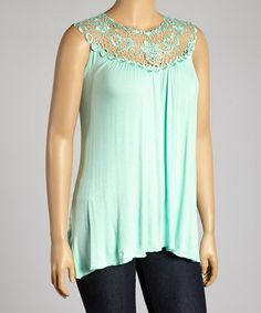 Look at this #zulilyfind! Mint Floral Lace Yoke Top - Plus by Simply Irresistible #zulilyfinds