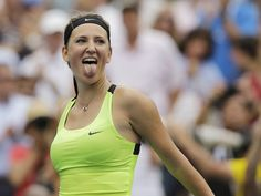 Top-ranked Victoria Azarenka was pushed to the limit by defending champion Sam Stosur before winning in a third-set tiebreaker at the U.S. Open quarter-finals.
