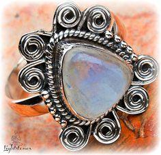 Rainbow Moonstone   Sterling silver 925 by LightstonesCrystals, $32.99