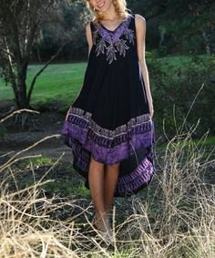 Another great find on #zulily! Purple Floral Sleeveless Dress by Ananda's Collection #zulilyfinds