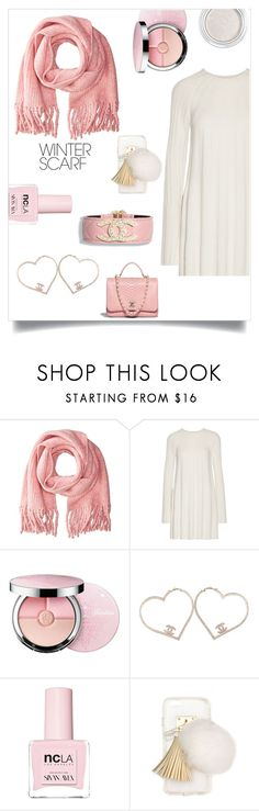 """""""pink scarf"""" by im-karla-with-a-k ❤ liked on Polyvore featuring rag & bone, Elizabeth and James, Chanel, Guerlain, ncLA, Ashlyn'd, Clarins and winterscarf"""