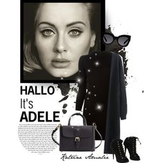 ADELE. by katrine-amalie on Polyvore featuring Mode, Maison Margiela, Chicnova Fashion, Giuseppe Zanotti, Burberry, Karen Walker, adele, allblack, blackoutfit and hallo
