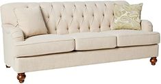 """Amazon.com: Homelegance Clemencia 85"""" Linen-Like Upholstered Sofa, White: Kitchen & Dining Living Room Accents, Accent Chairs For Living Room, White Furniture, Living Room Furniture, Furniture Ideas, Sofa Side Table, White Sofas, Contemporary Sofa, Upholstered Sofa"""