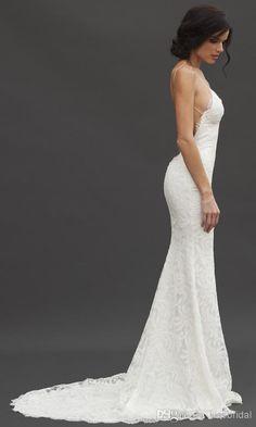 Beach Wedding Dresses Vintage Mermaid Spaghetti Sexy Backless Lace Bridal Gown   eBay