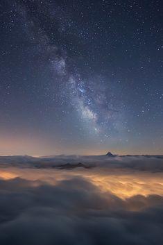 skyvvard:  Milky Way Above a Sea of Clouds| by RobertoBertero