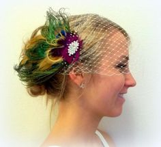 Bridal Veil with Olive Green Brown Bridal Fascinator, Wedding Hair Clip, Peaock Feathers, clip or pin