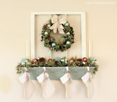 no mantle? no problem with this diy shelf to hang stockings