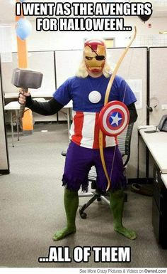 Funny pictures about All the Avengers in one costume. Oh, and cool pics about All the Avengers in one costume. Also, All the Avengers in one costume. The Avengers, Avengers Memes, Marvel Memes, Superhero Memes, Funny Superhero Costumes, Marvel Funny, Captain Underpants, Marvel Comics, Marvel Dc