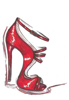red shoe sketch