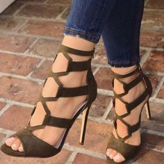 Dark Green Suede Cut out Stiletto Heels Sandals with Zipper 08a056ec32