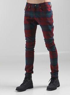 Mens F/W K-pop Fashion Red Brown Check Slim Skinny Spandex Pants Trousers S,M,L   eBay